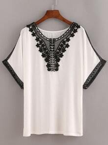 Lace Trimmed Peasant Top - White