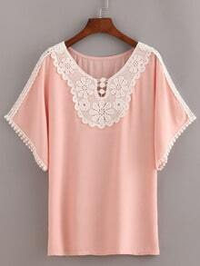 Lace Trimmed Peasant Top - Pink
