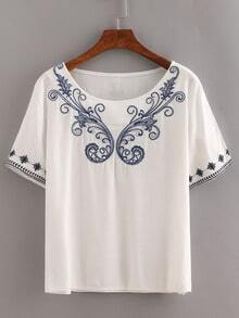 Embroidered Peasant Top - White