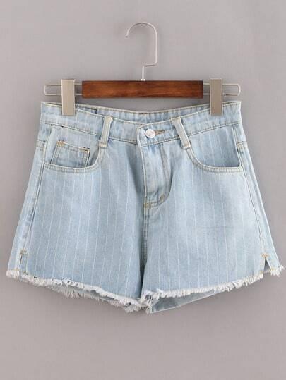 Raw Hem Vertical Striped Light Blue Denim Shorts