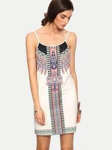 Multicolor Print Sleevless Open Back Dress