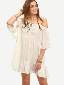 White Cold Shoulder Lace Patchwork Shift Dress