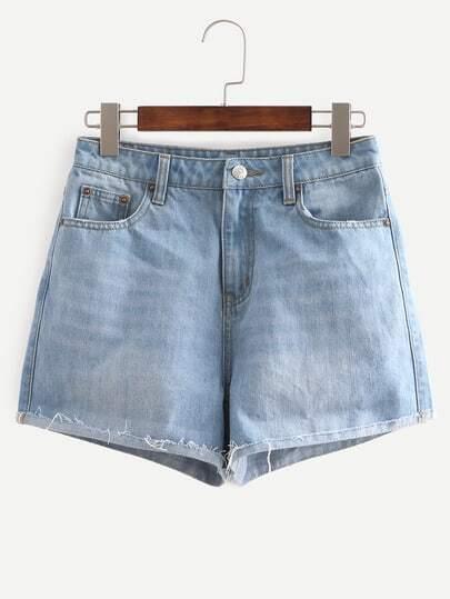 Blue Turn Up Mid Waist Pockets Denim Shorts