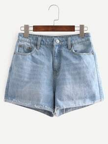 Blue Turn Up Mid Waist Pockets Denim Shorts