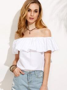 White Ruffle Boat Neck Slim Blouse