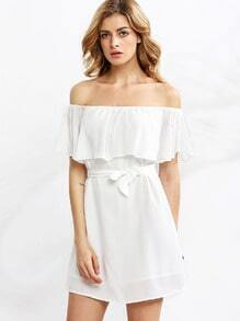 White Self-tie Bow Ruffle Boat Neck Blouse