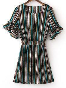 Green Elastic Waist Bell Sleeve Stripe Dress