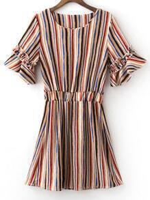 Khaki Elastic Waist Bell Sleeve Stripe Dress