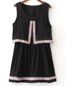 Black Round Neck Webbing Trim Sleeveless Dress