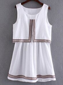 White Round Neck Webbing Trim Sleeveless Dress