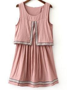 Pink Round Neck Webbing Trim Sleeveless Dress