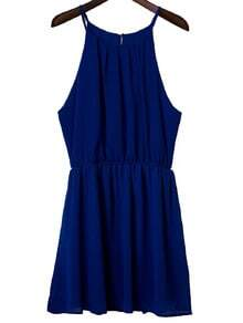 Blue Elastic Waist Keyhole Back Spaghetti Strap Dress