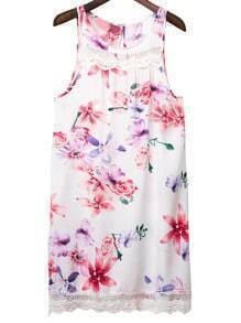 Multicolor Keyhole Back Lace Trim Floral Print Dress