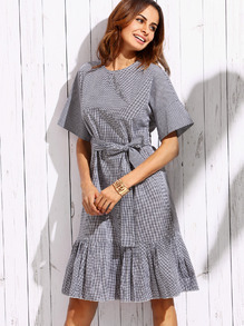 Black White Tie-Waist Bow Pleated Hem Plaids Dress