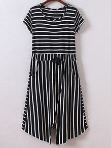 Black Short Sleeve Tie-Waist Pockets Stripe Dress