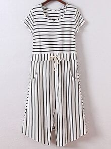 White Short Sleeve Tie-Waist Pockets Stripe Dress