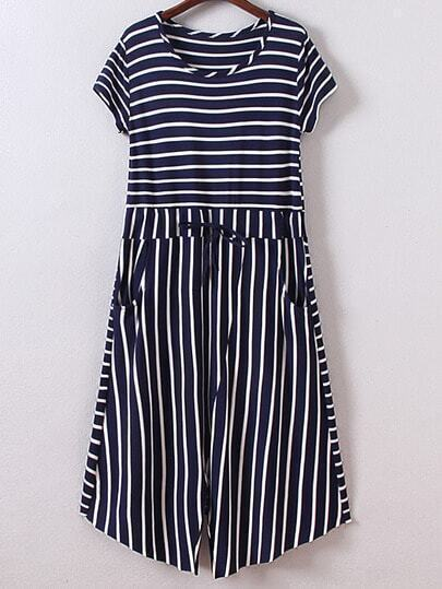 Navy Short Sleeve Tie-Waist Pockets Stripe Dress