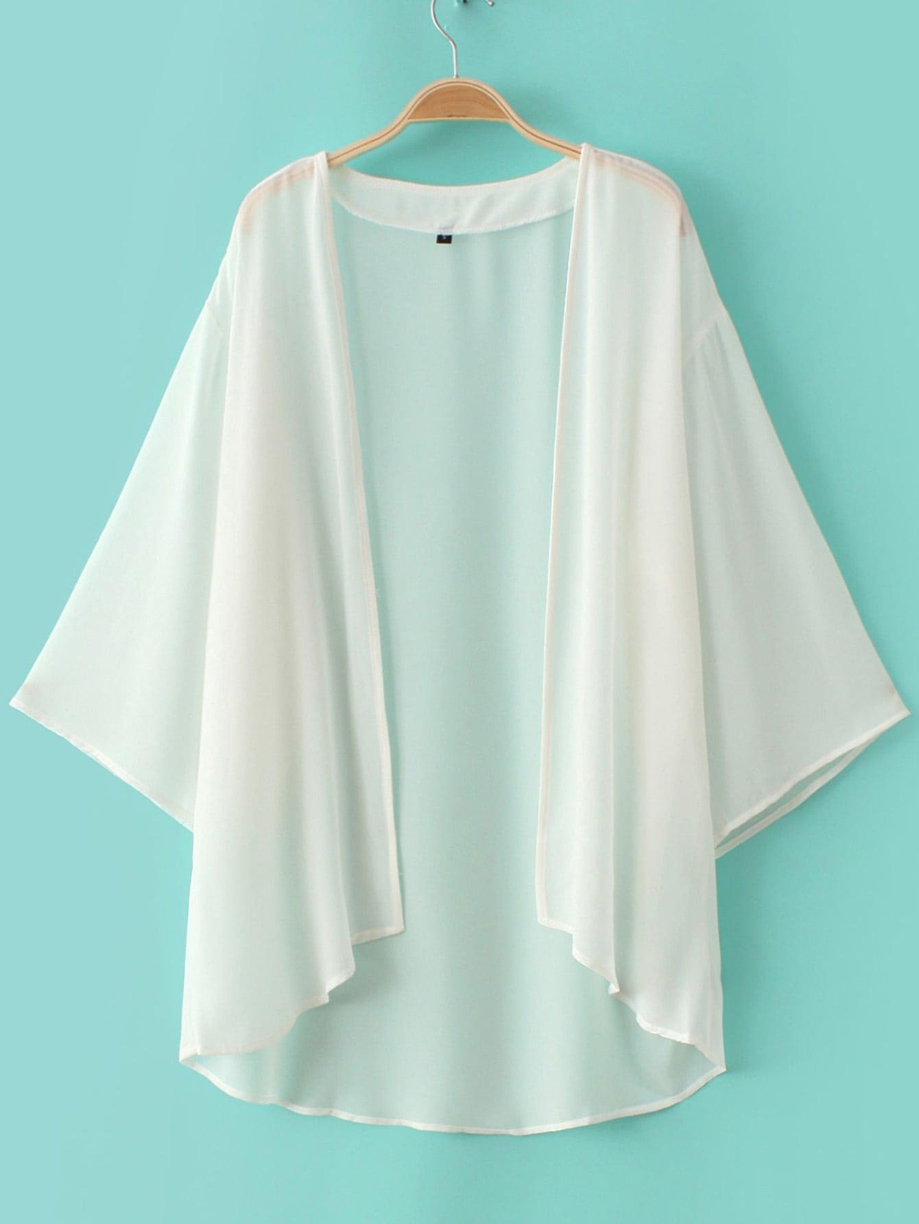 White Elbow Sleeve Chiffon Cardigan Kimono -SheIn(Sheinside)