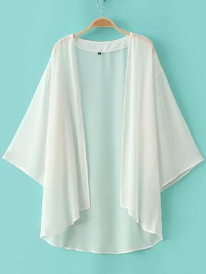 White Elbow Sleeve Chiffon Cardigan Kimono