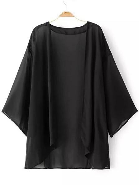 Image of Black Elbow Sleeve Cardigan Kimono