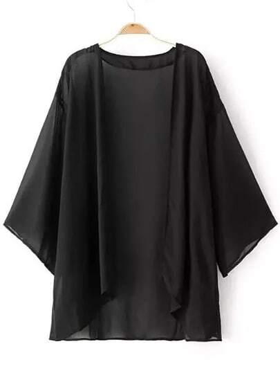 Kimono gasa suelto -negro
