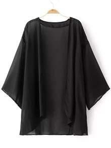 Black Elbow Sleeve Cardigan Kimono
