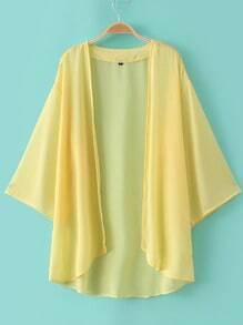 Yellow Elbow Sleeve Chiffon Cardigan Kimono