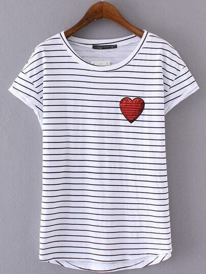 Black White Stripe Sequined Heart Short Sleeve T-shirt