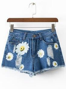 Blue Pockets Daisy Print Ripped Hole Denim Shorts