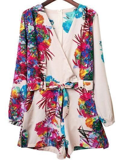 Multicolor Cross V Neck Tie-Waist Bow Print Romper
