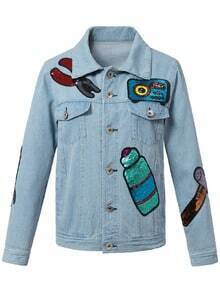 Blue Pockets Buttons Front Sequined Denim Jacket