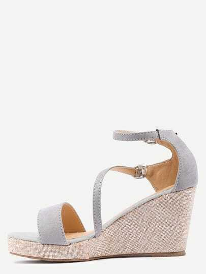 Grey Ankle Strap Wedge Sandals