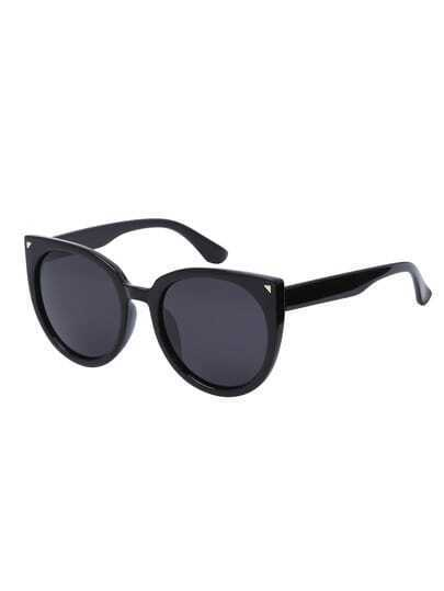 Black Lenses Oversized Round Cat Eye Sunglasses