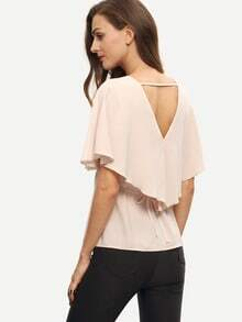 Pink V Neck Hollow Back Ruffle Blouse