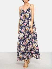 Multicolor Floral Spaghetti Strap Maxi Dress
