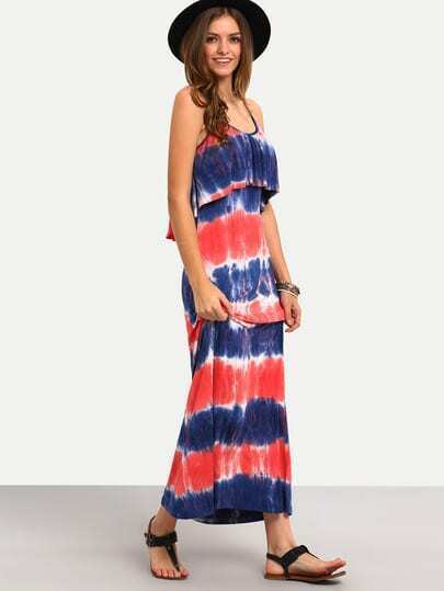 Multicolor Ikat Print Spaghetti Strap Dress