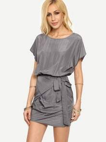 Grey Pleated Tie Short Sleeve Dress