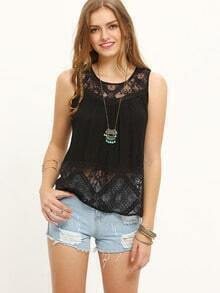 Black Sleeveless Lace Splice Split Tank Top