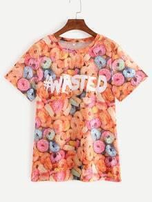 Multicolor Short Sleeve Letters Print T-shirt
