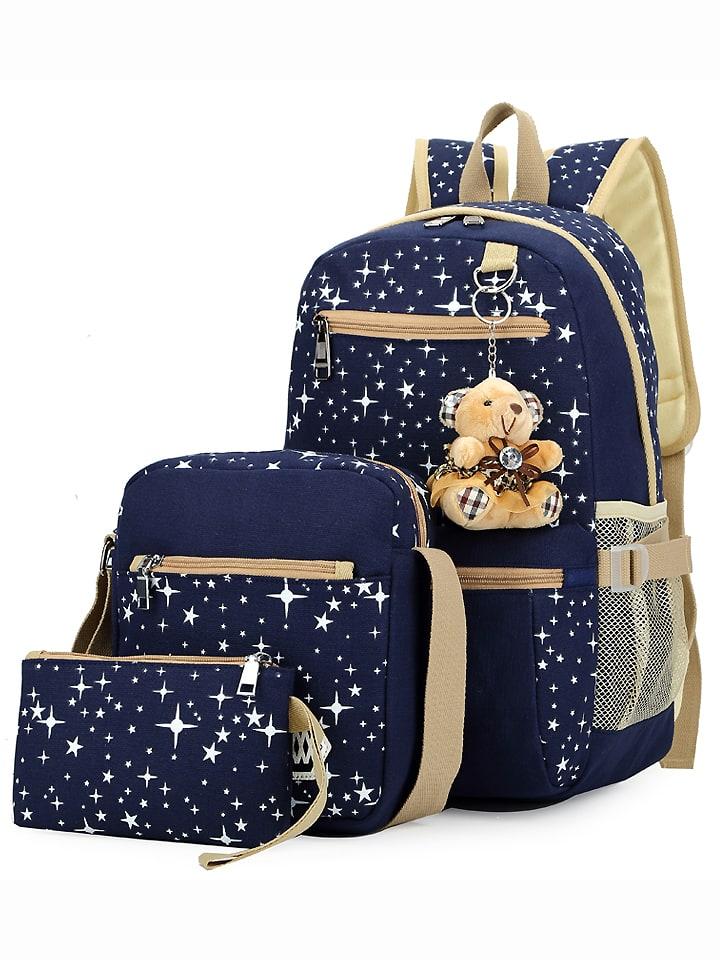Купить со скидкой Star Print 3PCS Canvas Backpack Set - Blue