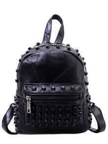 Studded Faux Leather Patchwork Backpack - Black