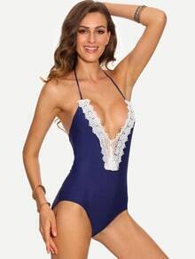 Lace Trimmed Plunge Neck One-Piece Swimwear - Blue