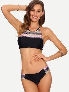 Tribal Print Halter Neck Bikini Set - Black