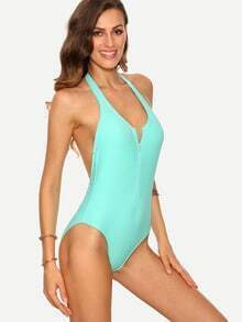 Zip Front Backless One-Piece Swimwear - Baby Blue