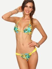 Multicolor Tropical Print Triangle Bikini Set