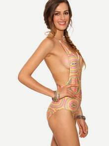 Multicolor Paisley Print One-Piece Swimwear