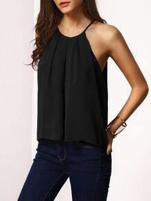 Black Spaghetti Strap Lace-up Cami Top