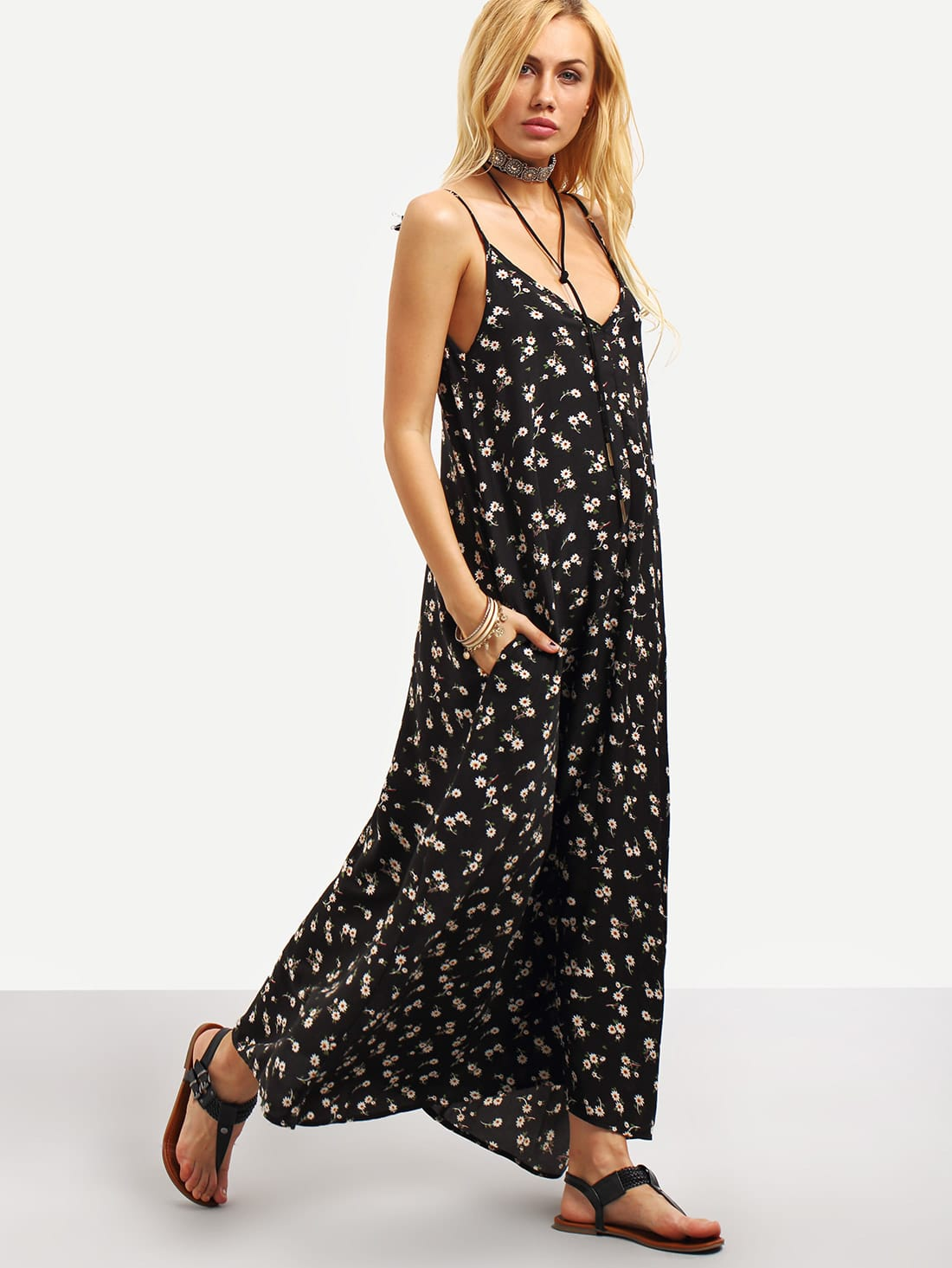 Plunging V-Neckline Floral Cami Dress