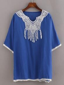 Lace Trimmed Blue Chiffon Poncho Blouse