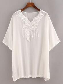 Lace Trimmed White Chiffon Poncho Blouse